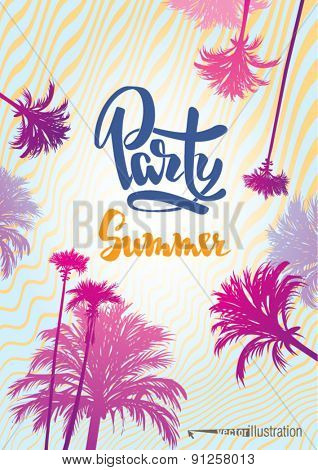 Poster to the summer party on the beach. Vector illustration.