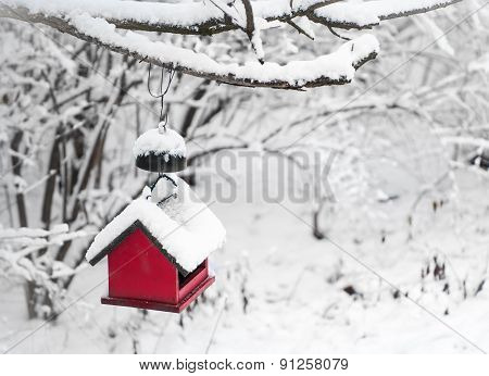 Red bird house covered with snow