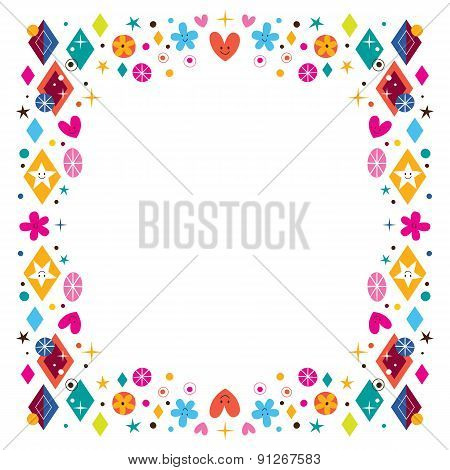 hearts, stars, flowers and diamond shapes happy frame