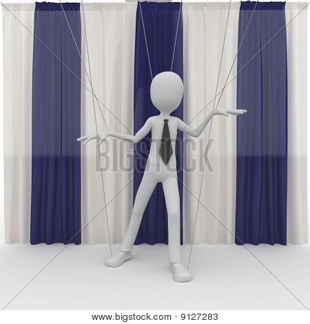 3D Man With Wooden String Puppet