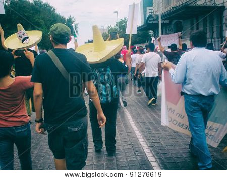 Citizens at a protest march of 132 movement in Monterrey Mexico, asking for political justice