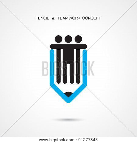 Creative Pencil And People Icon Abstract Logo Design Vector Template.