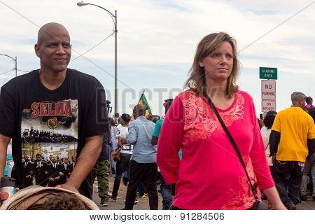 African-American man with Caucasian lady