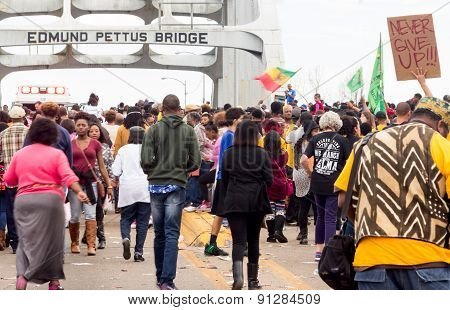 Protesting across the Edmund Pettus Bridge