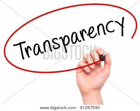 Man Hand writing Transparency with marker on transparent wipe board.