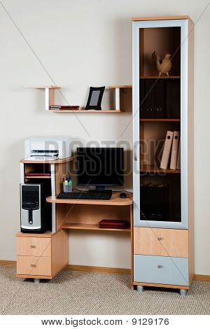 Computer On A Wooden Desk