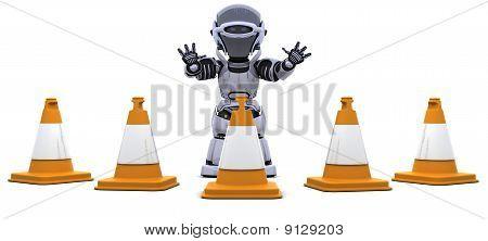 Roboter mit Traffic cones