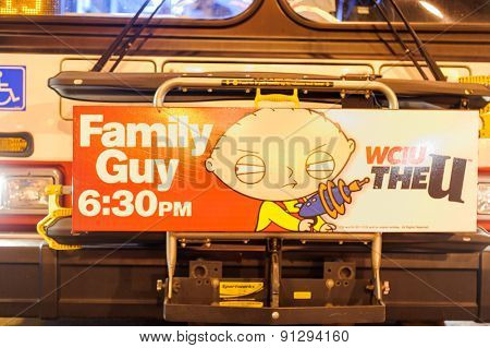 CHICAGO, USA - OCTOBER 04, 2011: Family Guy advertisement. Family Guy is an American adult animated sitcom created by Seth MacFarlane for the Fox Broadcasting Company