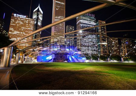 CHICAGO, USA - OCTOBER 04, 2011: Jay Pritzker Pavilion. Jay Pritzker Pavilion, also known as Pritzker Pavilion or Pritzker Music Pavilion, is a bandshell in Millennium Park