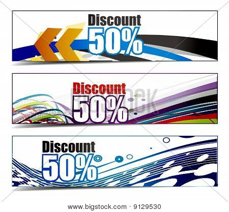 Abstract banners on 8 different themes,