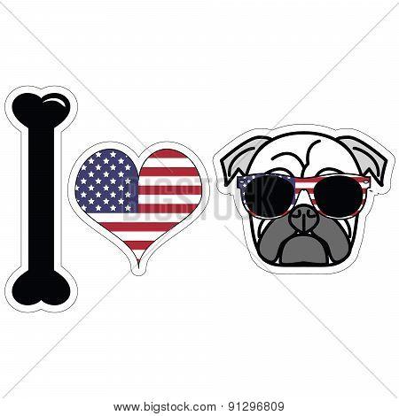 I Love Pugs With American Symbols