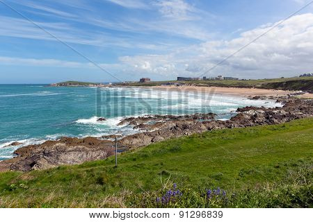 Fistral beach Newquay North Cornwall uk with bluebells in spring