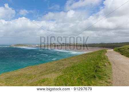 South West Coast path Fistral beach Newquay North Cornwall uk in spring