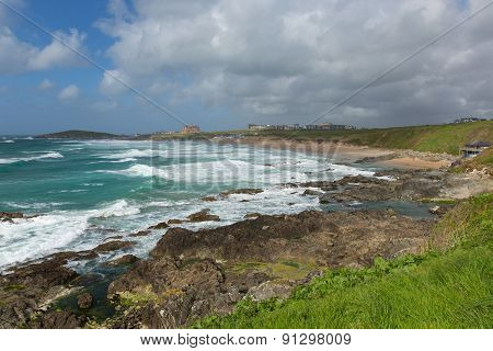 Fistral beach Newquay North Cornwall uk in spring one of the best surfing beaches in the UK