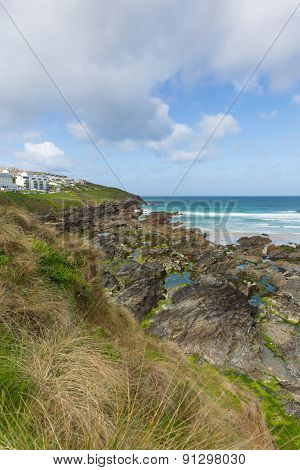 Rocky south end of Fistral beach Newquay North Cornwall one of the most popular beaches in the UK