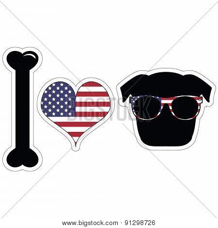 I Love Pugs With American Symbols With Black Shape Dog