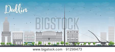 Dublin Skyline with Grey Buildings and Blue Sky, Ireland. Vector Illustration