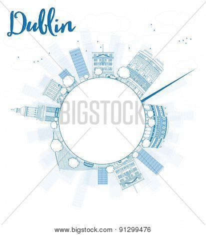 Outline Dublin Skyline with Blue Buildings and copy space, Ireland. Vector Illustration