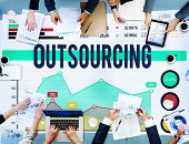 Outsourcing Hiring Outsource Recruitment Skills Concept poster