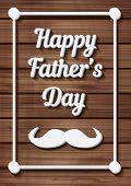 Happy Father's Day Typographical Background with moustache on wooden texture. Vector illustration