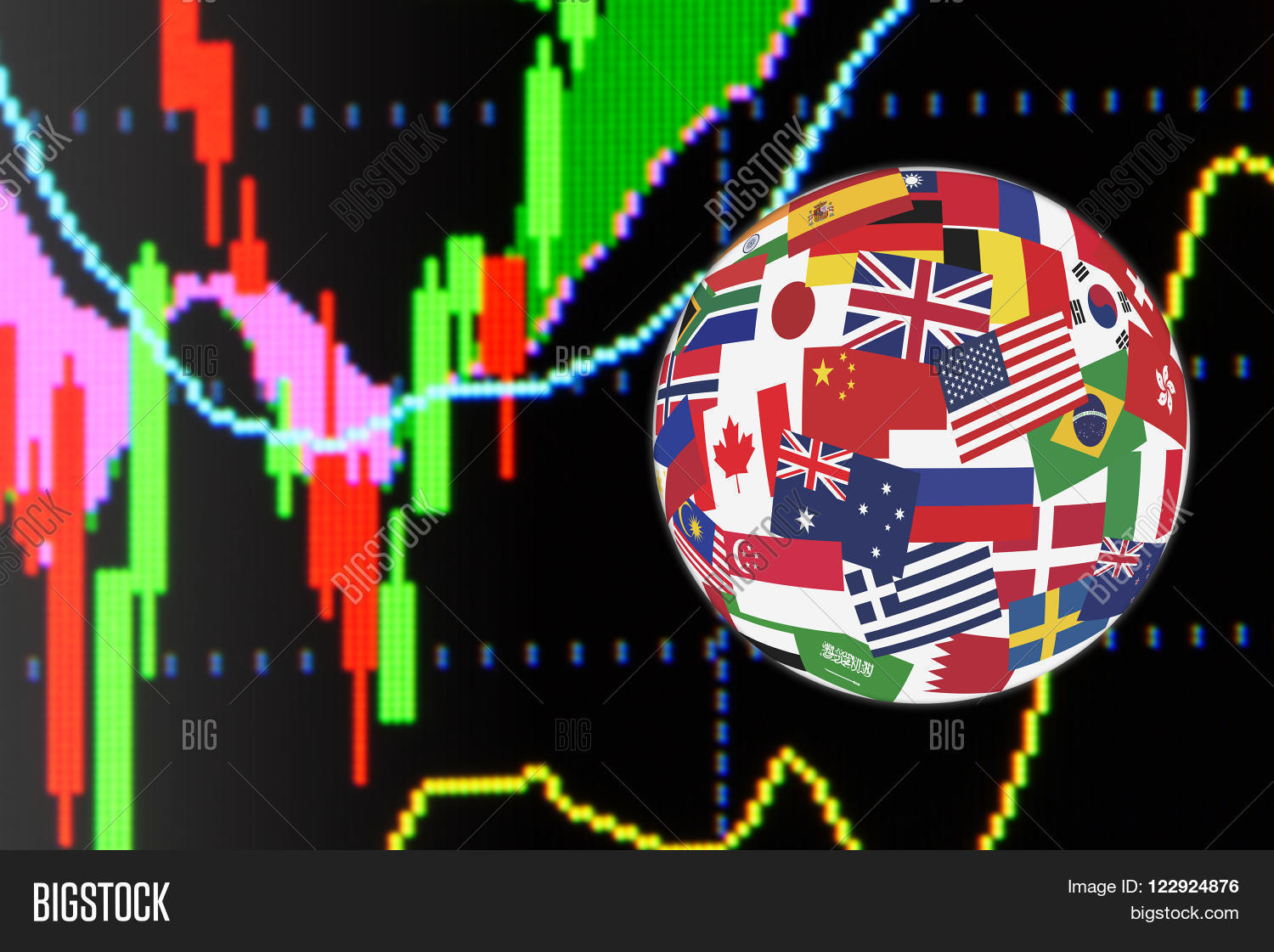 Flags Globe Over Image & Photo (Free Trial) | Bigstock