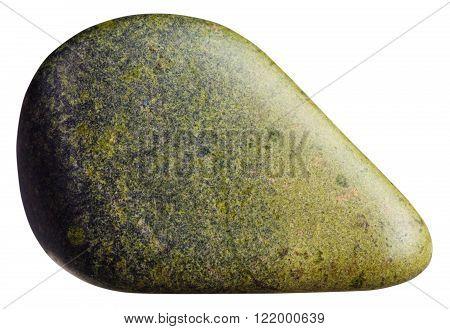 Polished Epidote Mineral Gem Stone Isolated