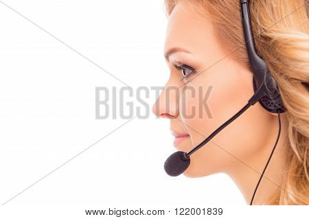 Side View Portrait Of Beautiful Agent Of Call Center