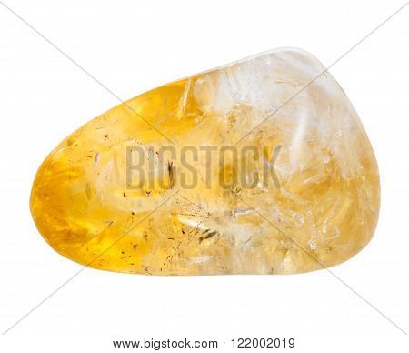 Pebble Of Citrine Mineral Gem Stone Isolated