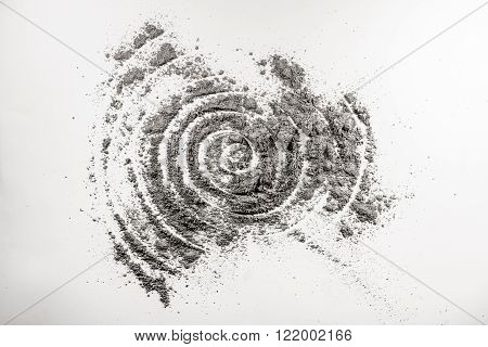 Spiral shape helix drawing in grey spattered ash