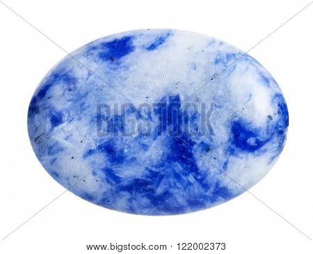 macro shooting - cabochon from blue lapis lazuli (azure stone, lazurite) mineral gemstone isolated on white background