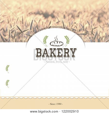 Vector template for bakery menu design with image of wheat field