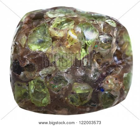macro shooting of natural gemstone - tumbled peridot (Chrysolite olivine) gem crystals in mineral stone isolated on white background poster