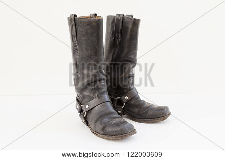 Black Pair Of Vintage Boots Isolated On White Background