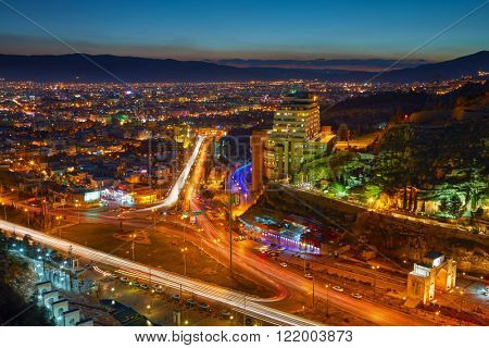 Night view of Shiraz, Iran