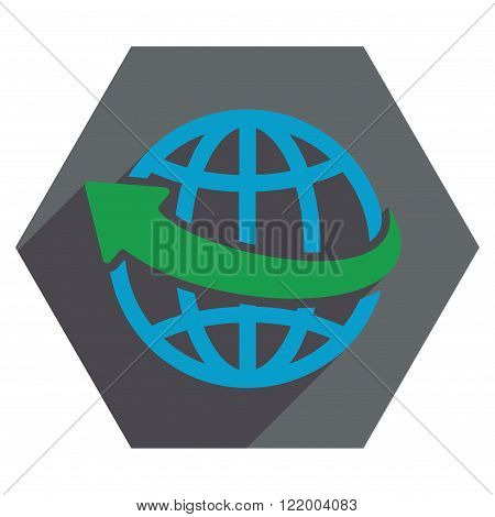 Worldwide Arrow long shadow vector icon. Style is a flat symbol on a colored hexagon button with longshadow.