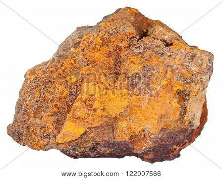 macro shooting of natural rock specimen - pebble of limonite (iron ore bog iron ore brown hematite brown iron ore lemon rock yellow iron ore) mineral stone isolated on white background poster