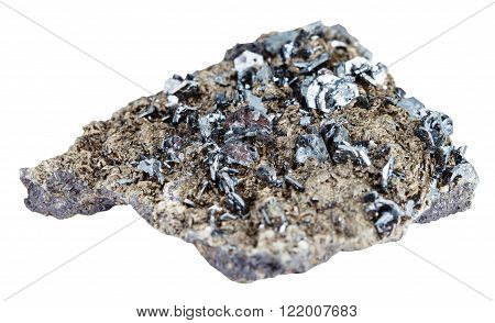 Magnetite Crystals On Mineral Stone Isolated
