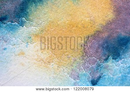 Macro Blue Yellow and Purple Watercolor 6