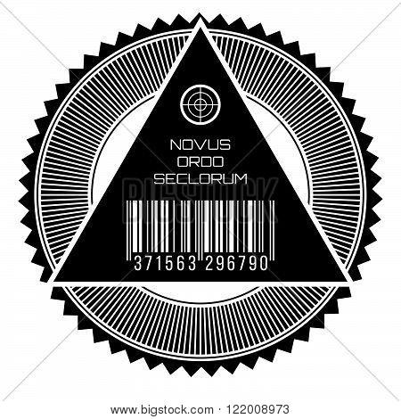 All seeing eye new world order words in latin seal.