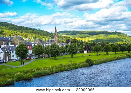 Panorama of Peebles with the river Tweed Scottish borders Scotland UK