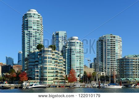 Vancouver City skyline and high rise apartment at the north bank of False Creek, Vancouver, British Columbia, Canada
