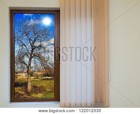 View From The Window With Blinds