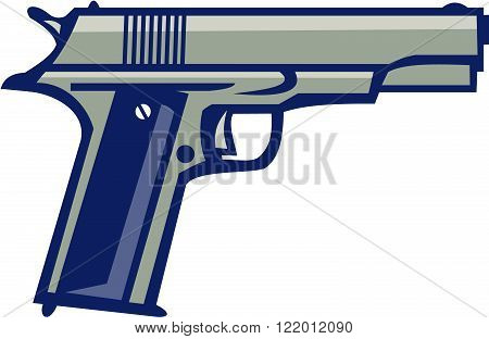 Illustration of a 1911 single-action semi-automatic magazine-fed recoil-operated sidearm pistol chambered for the .45 caliber ACP cartridge viewed from side on isolated white background done in retro style.