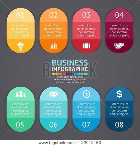Vector infographics labels and stickers. Template for diagram, graph, presentation, chart. Business