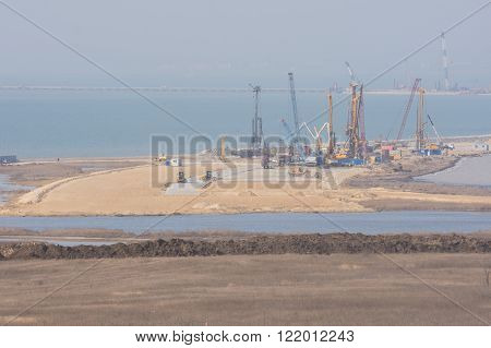 A View Of The Construction Of A Bridge Across The Kerch Strait, From Taman, As Of March 2016