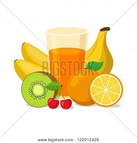 Healthy natural drink isolated on white. Vector illustration.