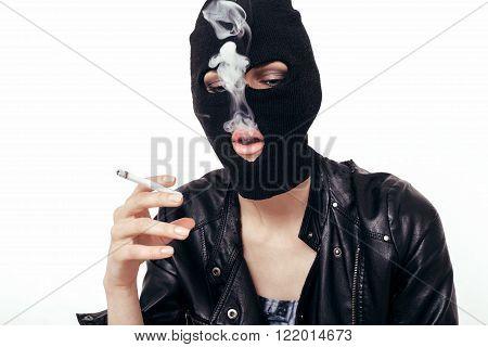 Sexy Girl In Balaclava Smoking Cigarette