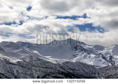 View On Snowy Mountains And Cloudy Sky In Evening
