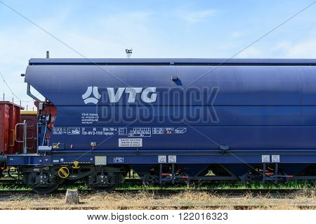 Debrecen Hungary - July 12 2015: Detail of a grained goods wagon owned by VTG a German cargo company