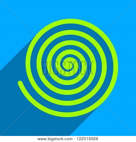 Hypnosis long shadow vector icon. Style is a flat hypnosis iconic symbol on a blue square background.